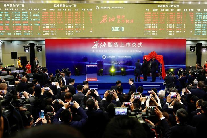 Церемония запуска торгов нефтяным фьючерсом в юанях на Шанхайской международной энергетической бирже (INE)